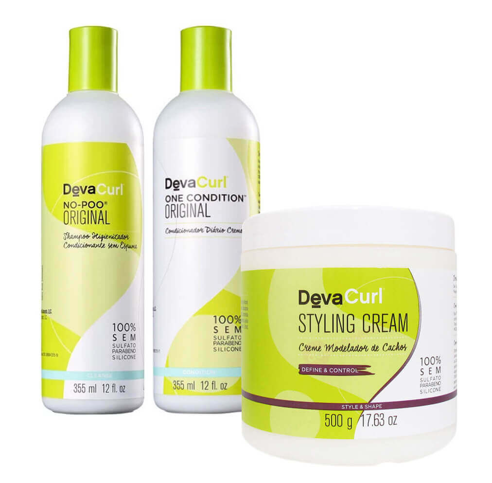 57210e8a1 Deva Curl Kit No Poo + One Condition 2 x 355ml + Styling Cream 500g ...