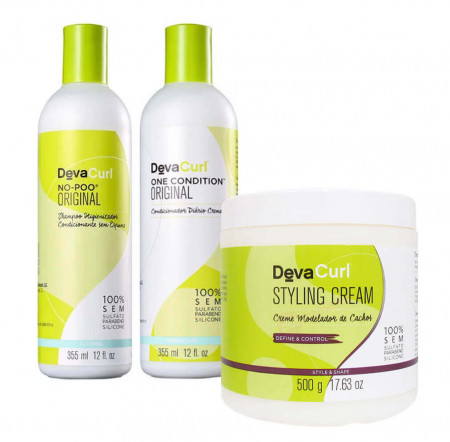 Deva Curl Kit No Poo + One Condition 2 x 355ml + Styling Cream 500g
