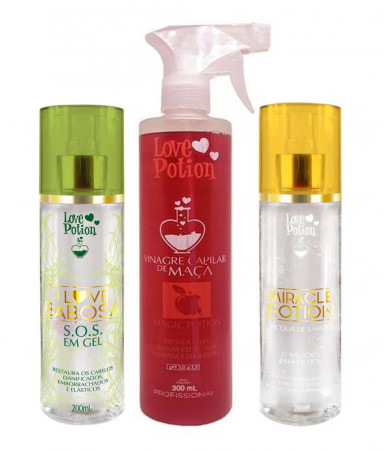 Love Potion Kit SOS em Gel + Vinagre Capilar de Maça + Miracle Potion