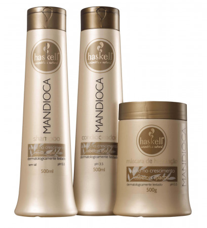 Haskell Kit Mandioca Shampoo e Condicionador 500ml + Mascara 500g