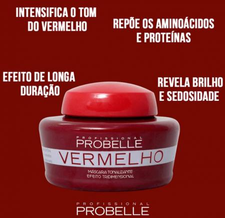 Probelle Mascara Tonalizante Vermelha 250g
